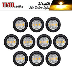 10 Pcs TMH 3/4″ Inch Mount Clear White LENS & Amber LED Clearance Markers, side marker lights, led marker lights, led side marker lights, led trailer marker lights, trailer marker light