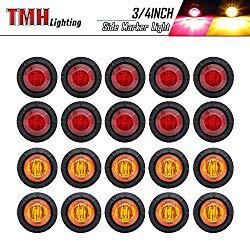 20 Pcs TMH 3/4″ Inch Mount 10 pcs Amber & 10 pcs RED LED Clearance Markers Bullet Marker lights, side marker lights, led marker lights, led side marker lights, led trailer marker lights