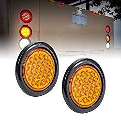 2pc 4″ Amber Round LED Trailer Tail Light Kit [DOT FMVSS 108] [SAE STI] [24 LED] [Grommet & Plug Included] [IP67 Waterproof] [Park & Turn Signal] Marine Trailer Lights for Boat Trailer RV Trucks