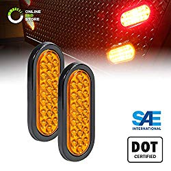 2pc 6″ Amber Oval LED Trailer Tail Light Kit [DOT FMVSS 108] [SAE STIP] [24 LED] [Grommet & Plug Included] [IP67 Waterproof] [Park & Turn Signal] Marine Trailer Lights for Boat Trailer RV Trucks