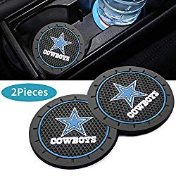 2Pcs 2.8 inch Dallas Cowboys logo Car Interior Accessories Anti Slip Cup Mat,fit BMW Toyota Mercedes Benz Chrysler Audi Lexus Honda Nissan Jeep Cadillac all Car