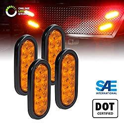 4pc 6″ Amber Oval LED Trailer Tail Light Kit [DOT FMVSS 108] [SAE I6] [Grommet & Plug Included] [IP67 Waterproof] [Park & Turn Signal] Marine Trailer Lights for Boat Trailer RV Trucks