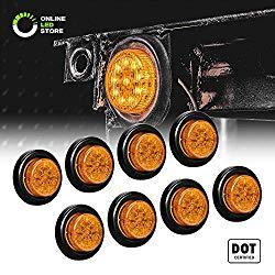 8pc 2″ Amber Round Trailer LED Marker Lights [DOT Approved] [Reflector Lens][10 LED] [Grommet] [Flush-Mount] [Waterproof IP67] Marker Lights for Trailer Truck