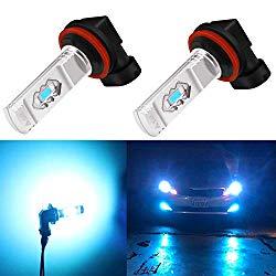 Alla Lighting 3600lm Xtreme Super Bright H11 LED Bulbs H11 Fog Light High Illumination ETI 56-SMD LED H11 Bulb H8 H16 H11 Fog Lights Lamp Replacement – 8000K Ice Blue