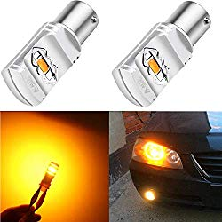 Alla Lighting 3800lm BAU15S 7507 Amber Yellow LED Bulbs Xtreme Super Bright 12496 7507 LED Bulb ETI 56-SMD LED 7504 Bulb for Auto Motorcycle Cars Trucks SUVs Turn Signal Blinker DRL Lights (2pcs)