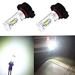 Alla Lighting 3800lm Xtreme Super Bright 2504 PSX24W LED Foglight Bulbs 2504 Fog Lights High Illumination ETI 56-SMD LED PSX24W Bulb 12276 2504 PSX24W Fog Lights Lamp Replacement – 6000K Xenon White