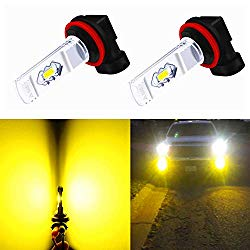 Alla Lighting 3800lm Xtreme Super Bright H11 H8 LED Fog Lights Bulbs 3000K Amber Yellow ETI 56-SMD 12V DRL for Replacing Halogen 55W 35W Fog Lamps H16