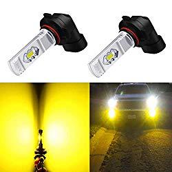Alla Lighting H10 LED Fog Light Bulb, 9145 9140 9040 9045 ETI 56-SMD 3800 Lumens Extremely Super Bright Cars Trucks 9145 CANBUS LED Lights, 3000K Amber Yellow