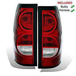 AmeriLite Replacement Rear Brake Tail Lights Set for Chevy Silverado Truck w/Bulb and Harness
