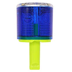 Aolyty Solar Strobe Warning Light 360 Degree Single Column Super Bright Waterproof IP48 for Construction Traffic Dock Marine Wireless Light Control Flashing (Blue)