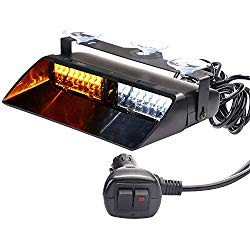 ASPL 12V 16 LED High Intensity LED Law Enforcement Emergency Hazard Warning Strobe Lights for Interior Roof/Dash/Windshield with Suction Cups (Amber/White)