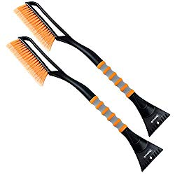 AstroAI 2 Pack 27″ Snow Brush and Detachable Deluxe Ice Scraper with Ergonomic Foam Grip for Cars (Heavy Duty ABS, PVC Brush)