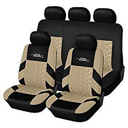 AUTOYOUTH Car Seat Covers Universal Fit Full Set Car Seat Protectors Tire Tracks Car Seat Accessories – 9PCS,Beige
