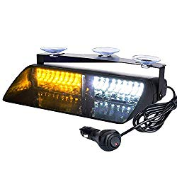 Auxbeam LED Law Enforcement Emergency Hazard Warning Strobe Lights for Interior Roof/Dash/Windshield with Suction Cups(Amber+White)