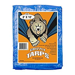 B-Air Grizzly Tarps – Large Multi-Purpose, Waterproof, Heavy Duty Poly Tarp Cover – 5 Mil Thick (Blue – 8 x 10 Feet)