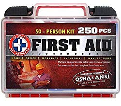 """""""Be Smart Get Prepared 250Piece First Aid Kit, Exceeds OSHA Ansi Standards for 50 People – Office, Home, Car, School, Emergency, Survival, Camping, Hunting, Sports"""""""