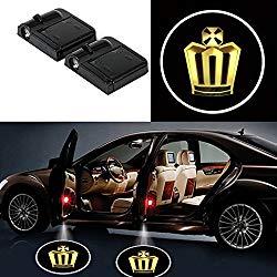 Bearfire 2 Pcs Wireless Car Door Led Welcome Laser Projector Logo Light Ghost Shadow Light Lamp Logos (crown)