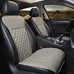 Black Panther 1 Pair Car Seat Covers, Luxury Car Seat Protectors, Universal Anti-Slip Driver Seat Cover with Backrest,Diamond Pattern (Gray)