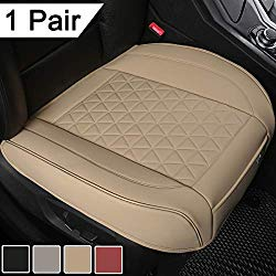 Black Panther 1 Pair Luxury PU Leather Car Seat Covers Protectors for Front Seat Bottoms,Compatible with 90% Vehicles (Sedan SUV Truck Van MPV) – Beige,Triangle Pattern (21.26×20.86 Inches)