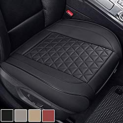 Black Panther Luxury PU Leather Car Seat Cover Cushion Front Seat Bottom Protector,Compatible with 90% Vehicles (Sedan SUV Truck Van MPV), Triangle Quilting Design – 1 Piece,Black (21.26×20.86 Inches)