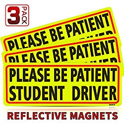 BOKA Please Be Patient Student Driver Magnet Safety Sign Vehicle Bumper Magnet – Car Vehicle Reflective Sign Sticker Bumper for New Drivers – Set of 3