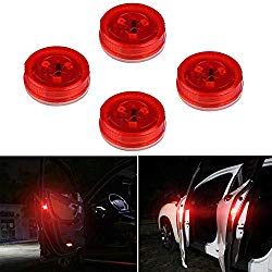 Botepon 4PCS Universal Wireless Car Door LED Warning Light, Safety Light, Strobe Lights for Anti rear-end Collision (Red)