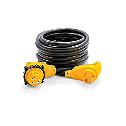 Camco 25′ PowerGrip Heavy-Duty Extension Cord with 30M/30F- 90 Degree Locking Adapter   Allows for Easy RV Connection to Distant Power Outlets   Built to Last (55524)