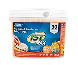 Camco TST Orange 30 Pack Ultra-Concentrated Citrus Scent RV Toilet Treatment Drop-Ins, Formaldehyde Free, Breaks Down Waste and Tissue, Septic Tank Safe, 30-Pack (41183)