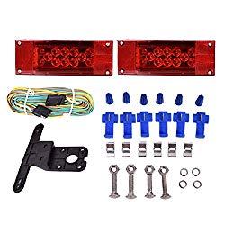 CZC AUTO 12V LED Low Profile Submersible Rectangular Trailer Light Kit Tail Stop Turn Running Lights for Boat Trailer Truck Marine