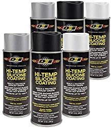 Design Engineering 010300 High-Temperature Silicone Coating Spray Assortment Case – 2 Cans Each of Black, Aluminum, and White