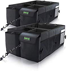 Drive Auto Products Car Trunk Organizer Storage with Straps, Black, 2-Pack