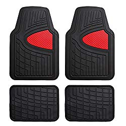 FH Group Red F11311RED Rubber Floor Mat(Heavy Duty Tall Channel, Full Set Trim to Fit)