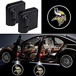For Minnesota Vikings Car Door Led Welcome Laser Projector Car Door Courtesy Light Suitable Fit for all brands of cars(Minnesota Vikings)