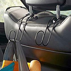 High Road Contour CarHooks Car Headrest Hangers – 2 Pack (Black)