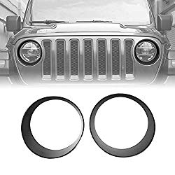 ICarszone Black Front Headlight Trim Cover Bezels for Jeep Wrangler JL JLU & Unlimited Accessories, 2018-2019 (Pair)