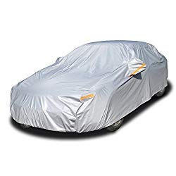 kayme 6 Layers Car Cover Waterproof All Weather for Automobiles, Outdoor Full Cover Rain Sun UV Protection with Zipper Cotton, Universal Fit for Sedan (186″-193″)