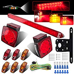 LIMICAR LED Trailer Lights Kit 12V Waterproof Square Stop Turn Tail Truck Lights w/Wire