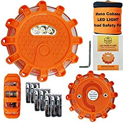 ManaCabana LED Roadside Safety Discs – Road Flares Built Tough with Quality Materials for Car Emergency Breakdown Kit Magnetic Waterproof Flashing Disk Lights AAA Batteries Fitted and Tested (3 Pack)