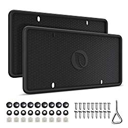 Ohuhu Silicone License Plate Frame 2-Pack with Mounting Accessories Black, Rust-Proof, Rattle-Proof, Weather-Proof, Wont Block Letters/Stickers