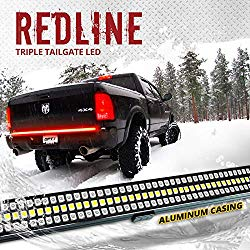 OPT7 60″ Redline Triple LED Tailgate Light Bar w/Sequential RED Turn Signal – 1,200 LED Solid Beam – Weatherproof No Drill Install – Full Function Reverse Brake Running 2yr Warranty