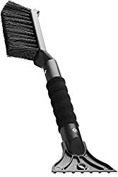OxGord 2-in-1 Ice Scraper & Snow Brush – No Scratch w/Soft Bristle Best for Frost Remover & Broom Removal Tool – Auto Windshield Window Cleaning Kit – Heavy Duty Winter Car Accessories w/Grip Handle
