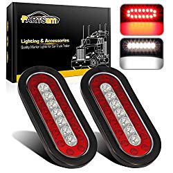 Partsam 2Pcs 6.3″ inch Oval Truck Trailer Led Tail Stop Brake Lights Taillights Running Red and White Backup Reverse Lights, Sealed 6.3 inch Oval led Trailer Tail Lights w reflectors Flush Mount