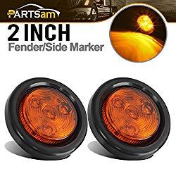 Partsam 2pcs Amber Led Light Trailer 2″ Round,w/Plug & Grommet Marker 4 LED