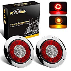 Partsam 4″ Inch Round Truck Trailer Led Tail Stop Brake Lights Taillights Running Red and Amber Parking Turn Signal Lights, Sealed Dual Color Round Led Lights w/Miro-reflectors Flange Mount (2Pack)