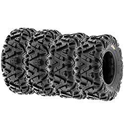 Set of 4 SunF Power.I AT 26×8-12 Front & 26×9-12 Rear ATV UTV all-terrain Tires, 6 PR, Tubeless A033