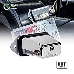 Surface-Mount LED Trailer License Plate Lights [DOT/SAE Certified] [IP67 Waterproof Rated] [Ultra-Durable] License Tags for Trailers, RVs, Trucks & Boats – Chrome Housing