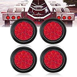 TOPPOWER 4″ Round led Stop/Turn/Tail Lights RED 4Pcs Trailer Tail Light with Grommet Waterproof led Side Maker Light for RV Trucks Trailer DC 12-24V (4 Pcs)