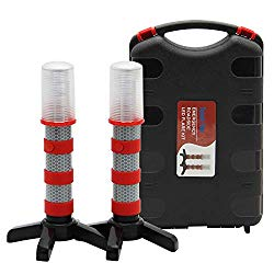 Twinkle Star Emergency Roadside Flares Kit LED Safety Strobe Road Warning Light Highway Beacon Alert Flare with Magnetic Base, Detachable Stand, Solid Storage Case, Set of 2
