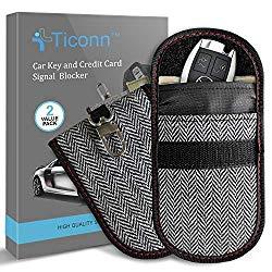 Upgraded Faraday Bag for Key Fob (2 Pack), TICONN Premium Faraday Cage Protector – Car RFID Signal Blocking, Anti-Theft Pouch, Anti-Hacking Case Blocker (Harris Tweed)