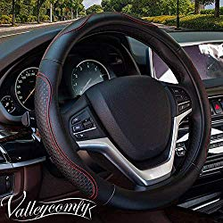 Valleycomfy 14.25 inch Auto Car Red Steering Wheel Covers- Genuine Leather for Prius Civic